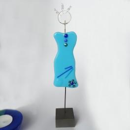 Kvindefigur. turkis, 24 cm