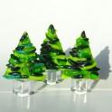 269. Træer. 6,5 - 7,5 cm høje inkl. fod. Små grønne på krystalfod, 3 stk (1)