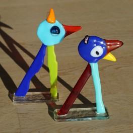 477. Tip og Top. 2 fantasifigurer. 11 og 13 cm. Blåt og turkis hoved